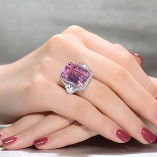 Collette Z Sterling Silver with Rhodium Plated Pink Radiant Cubic Zirconia and Clear Trillion Cubic Zirconias Three-Stone Ring