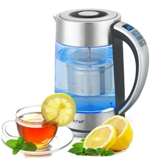 NutriChef PKWTK75 Digital Hot Water Glass Kettle with Tea Filter