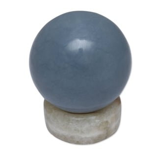 Handmade Heavenly Blue Celestite Sphere (Peru)