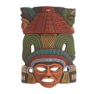 Handmade Mayan Pyramid Ceramic Mask (Mexico)