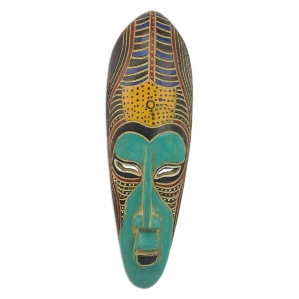 Blue Akoni African Wood Mask - Ghana