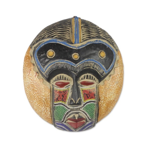 Funa African Wood Recycled Glass Bead And Aluminum Mask - Ghana