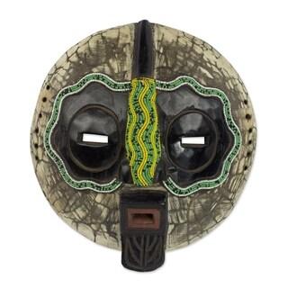 Ntiase Understanding African Beaded Wood Mask - Ghana