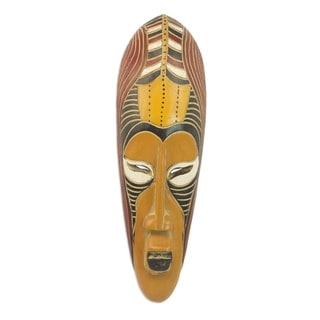 Yellow Akoni African Wood Mask - Ghana