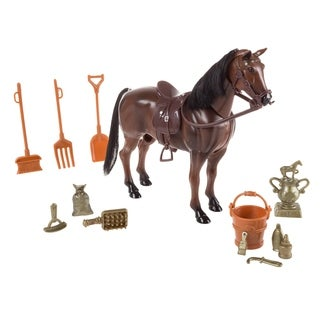Toy Horse Set with Accessories, Brushable Mane and Tail, and Moving Head Includes Grooming Brush, Saddle, Trophy By Hey! Play!