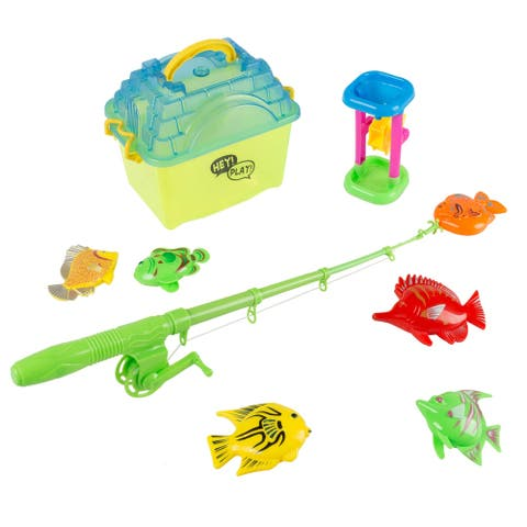 Kids Toy Fishing Set with Magnetic Fishing Pole and Reel, 6 Fish, Sand Wheel and Tackle Box Hey! Play!