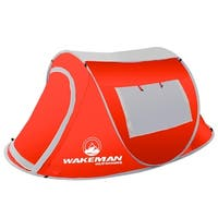 Pop-up Tent 2 Person, Water Resistant Barrel Style Tent for Camping With Rain Fly 2-person Tent By Wakeman Outdoors (Red)