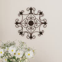 Medallion Metal Wall Art- 14.25 Inch Square Open Edge Metal Home Décor, Hand Crafted with Distressed Finish Lavish Home