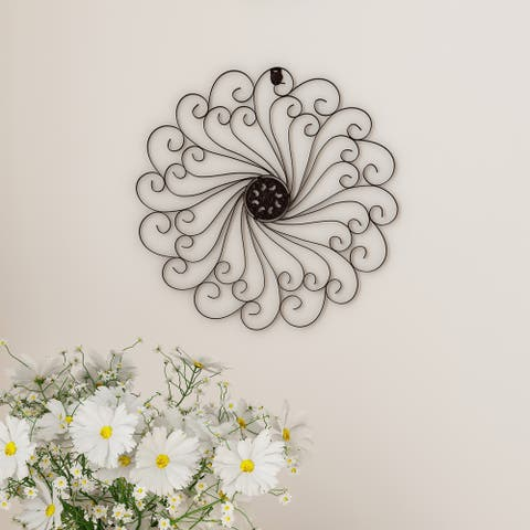 Medallion Metal Wall Art- 15.25 Inch Swirl Round- Metal Home Décor, Hand Crafted with Distressed Finish Lavish Home