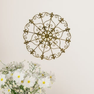 Medallion Metal Wall Art- 16 Inch Fleur De Lis Round Metal Home Décor, Hand Crafted with Distressed Finish Lavish Home