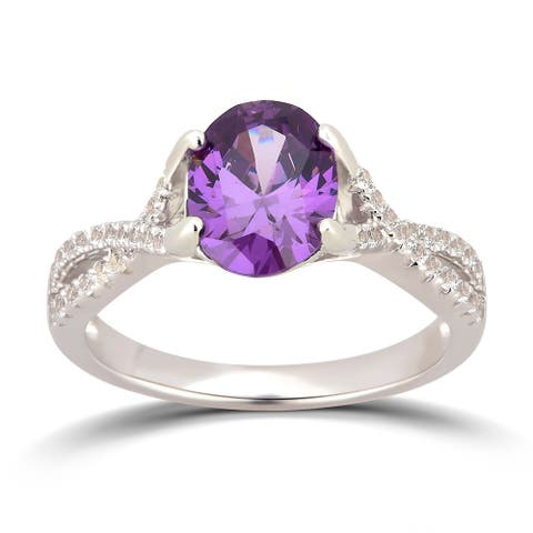 Divina Sterling Silver Created Amethyst and White Sapphire Cubic Zirconia Engagement Ring