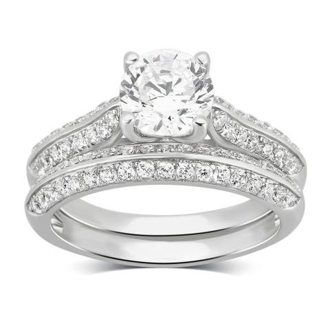 Divina Sterling Silver Created White Cubic Zirconia Bridal Ring