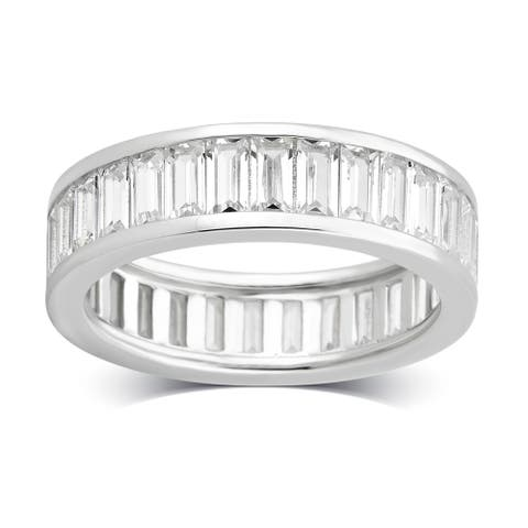 Divina Sterling Silver Created White Cubic Zirconia Eternity Band
