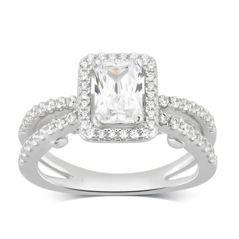 Divina Sterling Silver Created White Sapphire Cubic Zirconia Engagement Ring