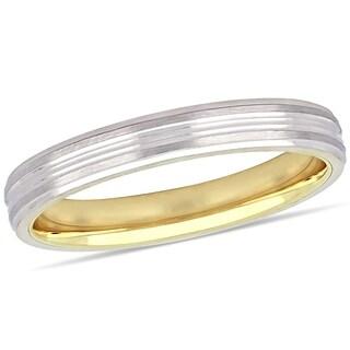 Miadora 10k 2-Tone White and Yellow Gold Ladies Wedding Band (3 mm)