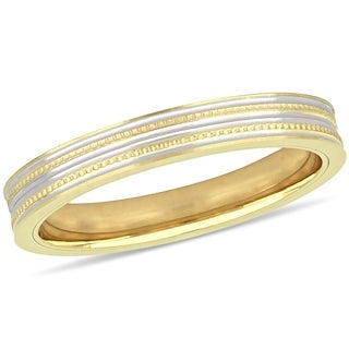 Miadora 10k 2 Tone Yellow And White Gold Ladies Wedding Band 3 Mm