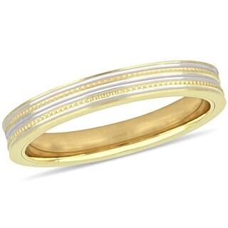 Miadora 10k 2-Tone Yellow and White Gold Ladies Wedding Band (3 mm)
