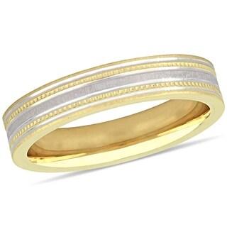Miadora 10k 2-Tone Yellow and White Gold Ladies Wedding Band (4 mm)