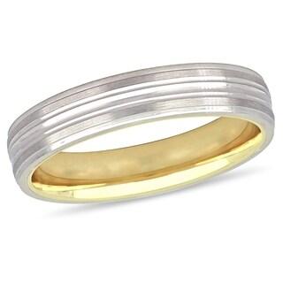 Miadora 10k 2-Tone White and Yellow Gold Ladies Wedding Band (4 mm)
