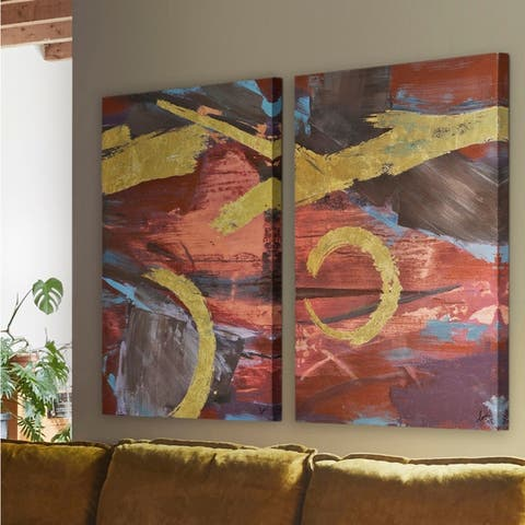 Renwil Porifera Rectangular Unframed Canvas Oil Painting - Blue/Multi-color/Red