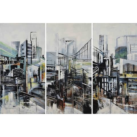 Renwil 'Terminal' Grey/Black/Multicolor Rectangular Unframed Canvas Oil Painting