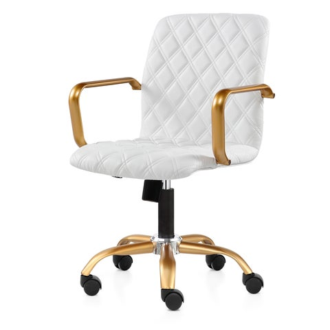 M524 Gold Finished Office Chair With Diamond Pattern