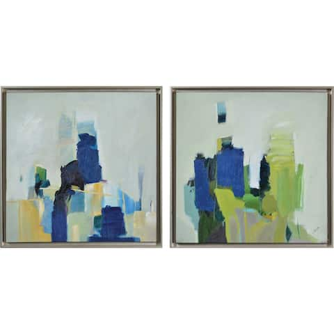 Strick & Bolton Framed Blue/ Green Canvas Oil Painting