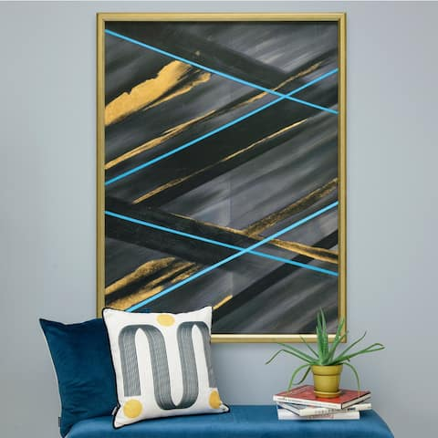 Renwil Volcan Rectangular Champagne Gold Framed Canvas Oil Painting - Black/Blue/Multi-color