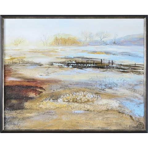 Renwil Acreage Rectangular Black and Archaize Framed Canvas Oil Painting - Yellow