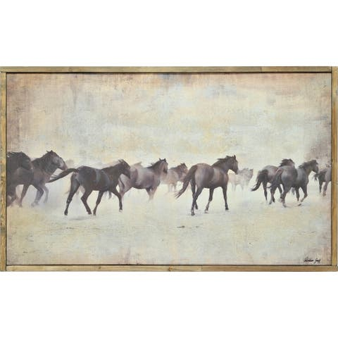 Strick & Bolton Framed Brown/ Multi-colored Canvas Oil Painting