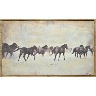 Renwil Mustang Rectangular Archaize Framed Canvas Oil Painting - Brown/Multi-color