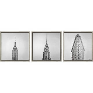 Renwil Trifecta Square Silver Framed Aluminum and Plastic Wall Art