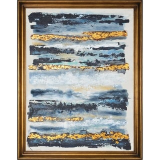 Renwil Aether Black/Blue/Multi-color Rectangular Canvas Oil Painting with Gold Pine Wood Frame