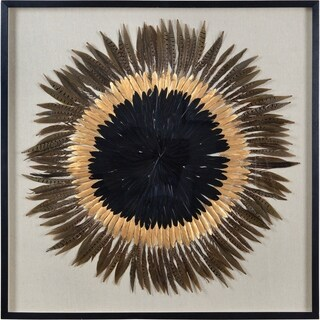 Renwil Taika Square Black Framed Feather Wall Art - Brown/Multi