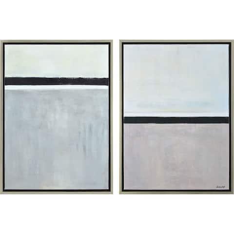 Renwil Richter Rectangular Silver Framed Canvas Oil Painting - Black/Grey/Multi-color