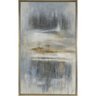 Renwil Brent Rectangular Champagne Silver Framed Canvas Oil Painting - Grey/Brown/Multi-color