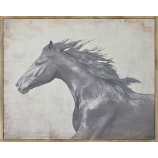 Renwil Brumby Rectangular Archaize Framed Linen Canvas Wall Art - Grey/Brown/White