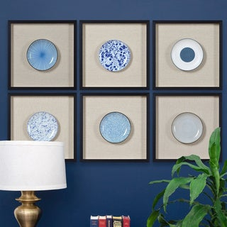 Renwil Dinette Square Black Framed Porcelain Wall Art - Blue/Multi/White