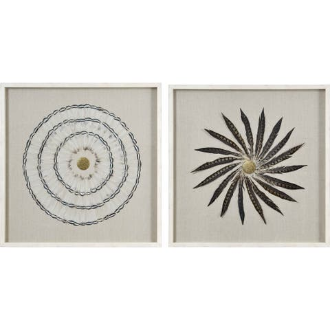 Renwil Hawera Square Off-White Framed Feather Wall Art - Brown/Multi/White