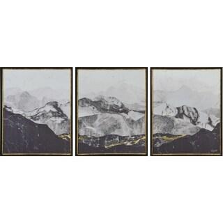 Renwil Dolomites Rectangular Black Framed Paper Wall Art - Grey/White