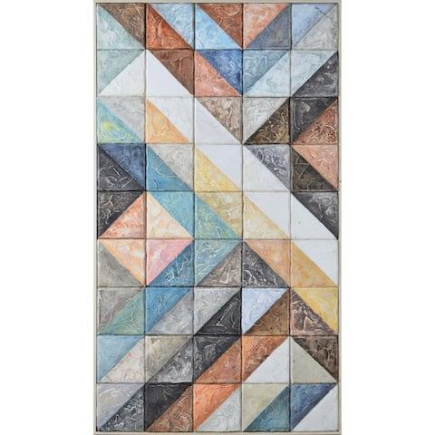Strick & Bolton Framed Blue/ Orange Pine Wood Wall Art