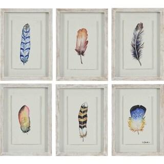 Renwil Quetzal Rectangular Natural Wood Framed Rag Paper Wall Art - Blue/Multi/YELLOW