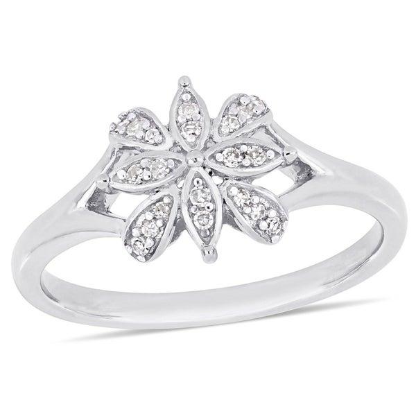 74ab4ebdcab Shop Miadora Sterling Silver 1/10ct TDW Diamond Floral Cluster Ring ...