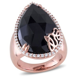 Miadora Rose Plated Sterling Silver Black Onyx & 3/8ct TDW Diamond Cocktail Ring