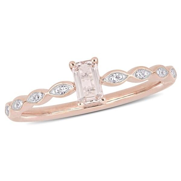 Shop Miadora 14k Rose Gold Morganite and Diamond Infinity