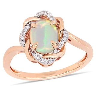 Miadora 10k Rose Gold Blue Ethiopian Opal and 1/10ct TDW Diamond Ring