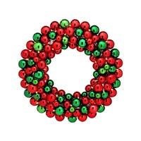 "24"" LED Battery Operated Shiny/Mercury Ball Wreath"""