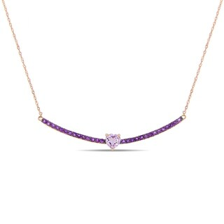 Miadora 10k Rose Gold Rose de France and African Amethyst Bar Stationed Necklace