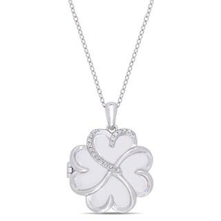Miadora Sterling Silver 1/10ct TDW Diamond Floral Swirl Locket Necklace