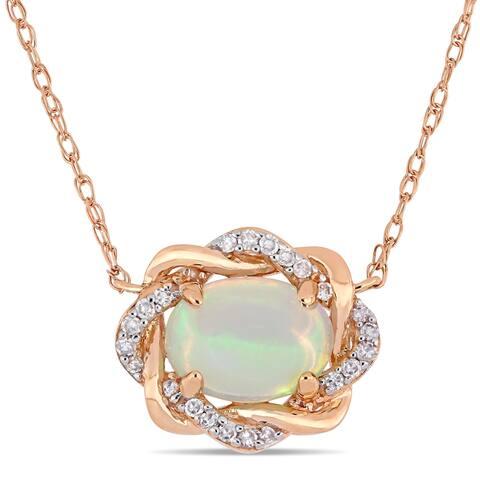 Miadora 10k Rose Gold Blue Ethiopian Opal 1/10ct TDW Diamond Halo Necklace